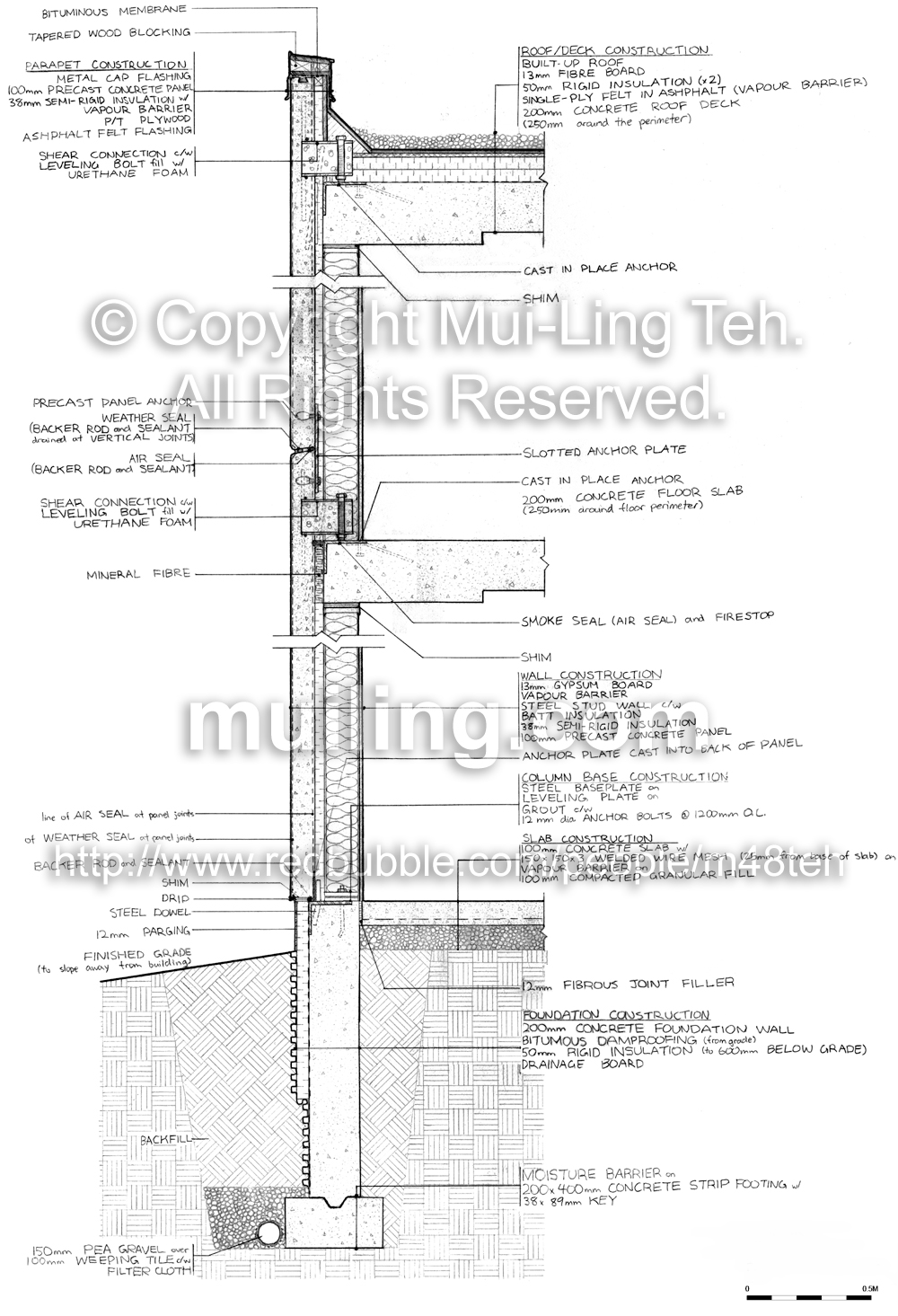 A detailed wall section drawn by Mui-Ling Teh during her first year in architecuture school.