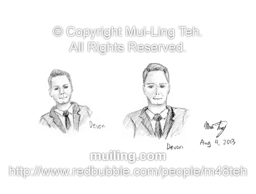 The host Devon Soltendieck from the game show 'Pop Quiz' sketched by Mui-Ling Teh