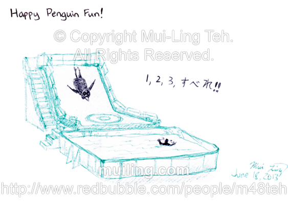 "Sketch of the game ""Happy Penguin Fun"" from the game show ""Japanizi Going Going Gong"" by Mui-Ling Teh"