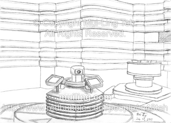 The centre stage and spinning camera from the game show 'Pop Quiz' sketched by Mui-Ling Teh