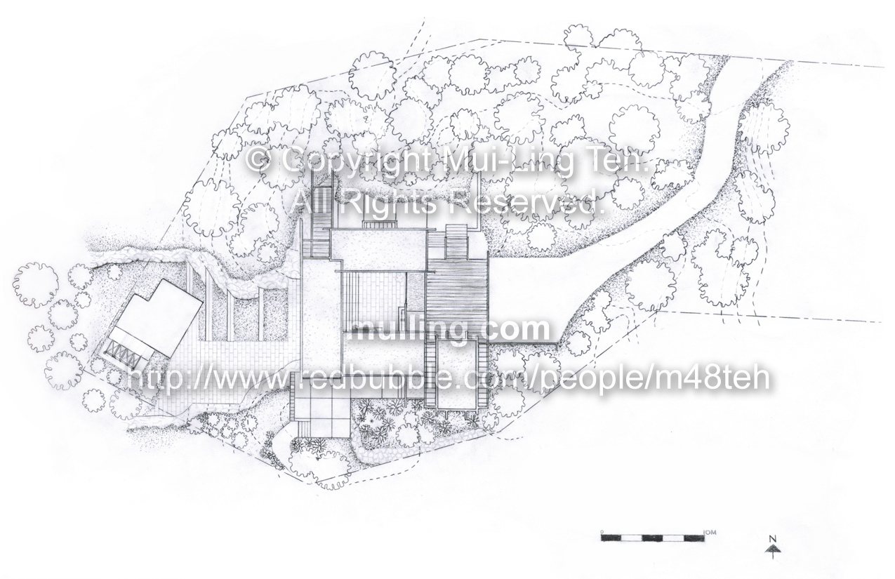 A hand drafted site plan of Arthur Erikson's Smith House by Mui-Ling Teh, for an outbuilding design project, done during her second year in architecture school.
